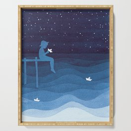 Boy with paper boats, blue Serving Tray