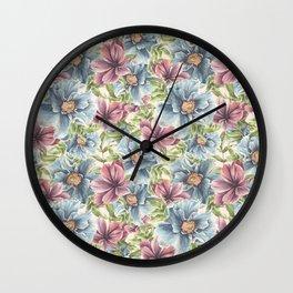 Hibiscus Vintage Pattern Wall Clock