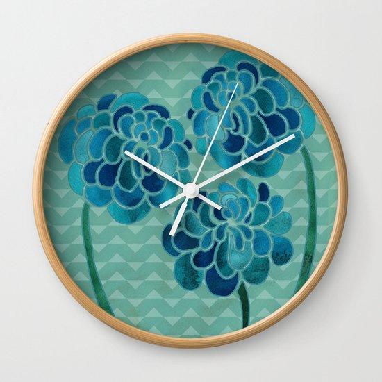 Blue Chrysanthemums Wall Clock