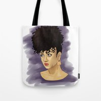 afro Tote Bags featuring Afro by Adelys