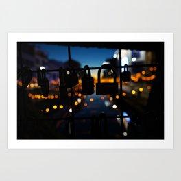 Bridge of locks in Milano by Night Photography Art Print