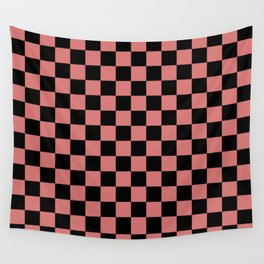 Checkered (pink + black) Wall Tapestry