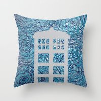 tardis Throw Pillows featuring Tardis by Sahara Novotny