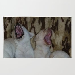 Howling Good Time with yellow lab puppies Rug