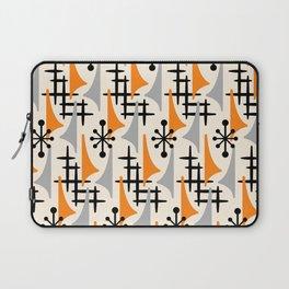 Mid Century Modern Atomic Wing Composition Orange & Gray Laptop Sleeve