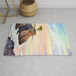 Pebble Beach Lone Cypress Tree Rug