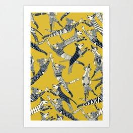 dog party indigo yellow Art Print