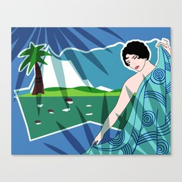 ANACAPRI: Art Deco Lady in Blue and Green Canvas Print