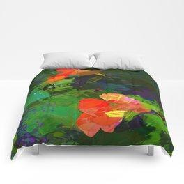 Nasturtiums in the garden Comforters