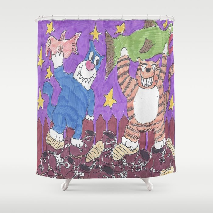 Cat Fight With Dead Fish Shower Curtain