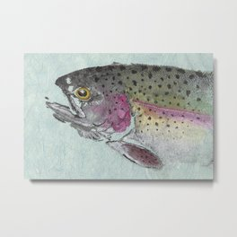 Rainbow Trout - Gyotaku Metal Print