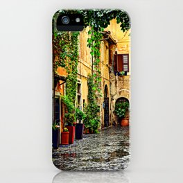 Vintage street in Rome, after Rain iPhone Case