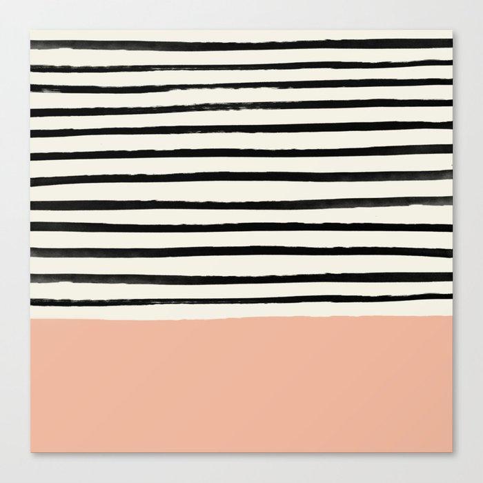 Peach x Stripes Leinwanddruck