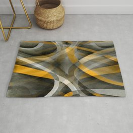 Eighties Retro Mustard Yellow and Grey Abstract Curves Rug