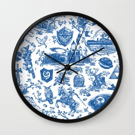 "Zelda ""Hero of Time"" Toile Pattern - Zora's Sapphire Wall Clock"