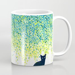Cat in the garden under willow tree Coffee Mug