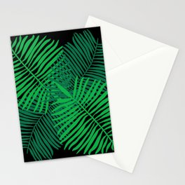Modern Tropical Palm Leaves Painting black background Stationery Cards