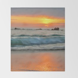 Golden sunset with turquoise waters Throw Blanket