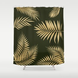 Golden and Green Palm Leaves Shower Curtain