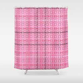 Pink and Grey 'Feminist Killjoy' Tartan Text Pattern Shower Curtain
