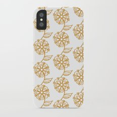 Golden floral on white 2/5 iPhone X Slim Case