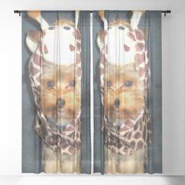 Yorkie Martian Giraffe | Dogs | nb Sheer Curtain