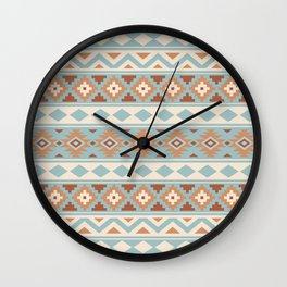 Aztec Essence Ptn IIIb Blue Crm Terracottas Wall Clock