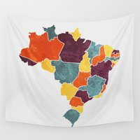 brazil Wall Tapestries featuring Brazil colour region map  by MCartography