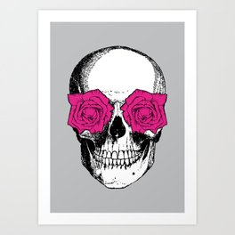 Skull and Roses | Skull and Flowers | Vintage Skull | Grey and Pink | Art Print