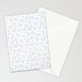 White & Light Gray Leopard Print  Stationery Cards