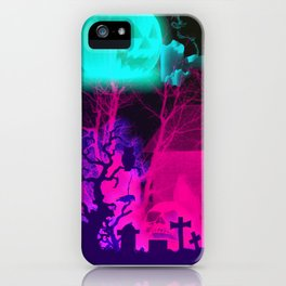Glowing Pumpkin and Haunted Halloween Barn iPhone Case