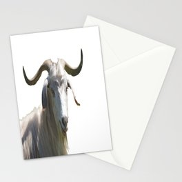 Portrait of a Horned Goat Grazing Vector Stationery Cards