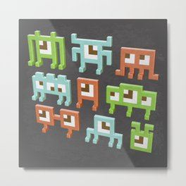 3D pixel aliens Metal Print