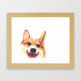 Peek-a-Boo Corgi Framed Art Print