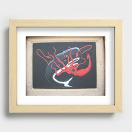 Sperm Whale versus Giant Squid Recessed Framed Print