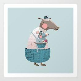Sheep & Mouse Art Print