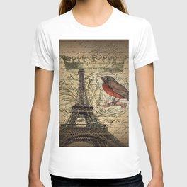 I love Paris Shabby chic Robin French Scripts Jubilee Crown Vintage Paris Eiffel Tower T-shirt