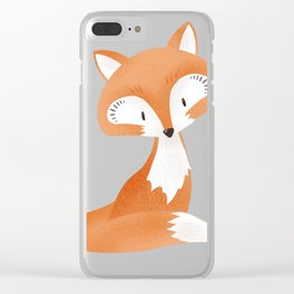 Cute fox kids illustration on white background Clear iPhone Case