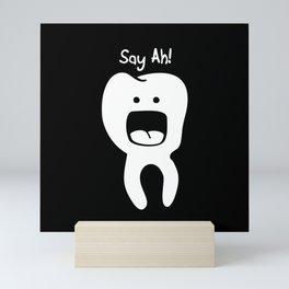 Say Ah! on black Mini Art Print