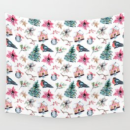 Christmas watercolor pattern. Wall Tapestry