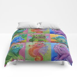 Baby Dragon Funny Monster Comic Illustration Painting for children Nursery decor Comforters