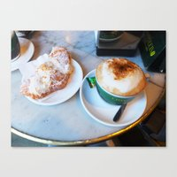 cafe Canvas Prints featuring Cafe by Lilliana Goti