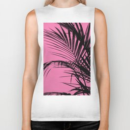 Palm leaves paradise with pink Biker Tank