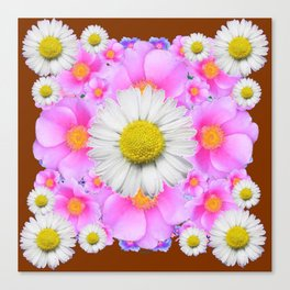 Chocolate Brown Color Shasta Daisies & Rose Pattern Garden Art Canvas Print