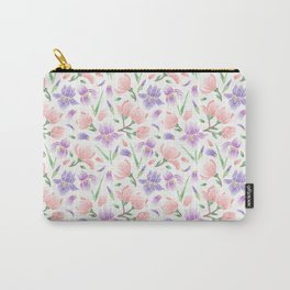 Magnolia and Iris Embroidery Style Carry-All Pouch