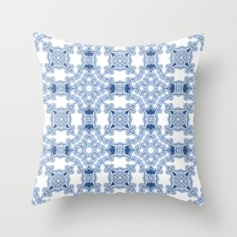 Kitty in a Blue Shoe Square Throw Pillow