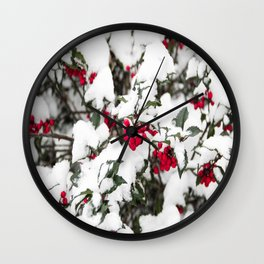 SNOW COVERED HOLLY Wall Clock