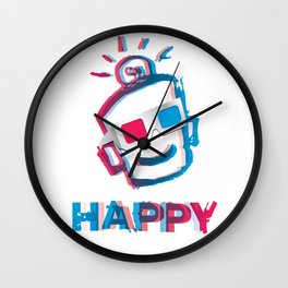 3D HAPPY Wall Clock
