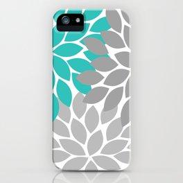 Flower Burst Turquoise Gray Dahlia Floral Pattern iPhone Case
