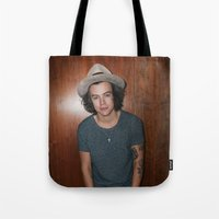one direction Tote Bags featuring One Direction by behindthenoise